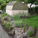 rain garden, lawn and shed