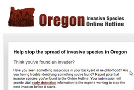 Oregon Invasive Hotline website