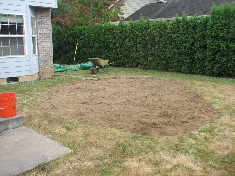 grass removed from a new rain garden site