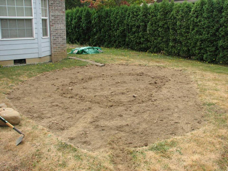 sod removed from rain garden