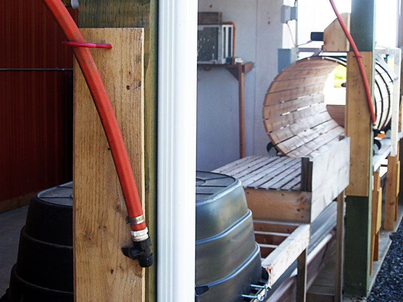 Cedar boards in the wash station