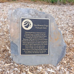 close-up of the plaque in the Dianna Pope Natural Area