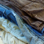 used pants, ready for a second life on the farm