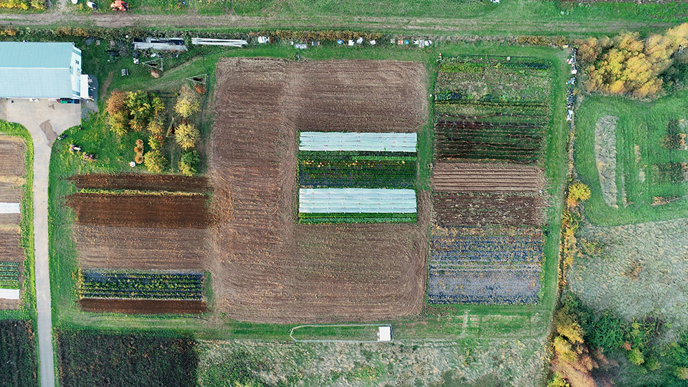 An aerial of Mainstem Farm, which is located adjacent to the Headwaters Farm property