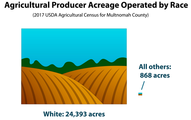 infographic depicting disparity in agricultural producer acreage by race between white and non-white producers